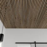 Ceiling with Rustic Natural Oak acoustical slat ceiling
